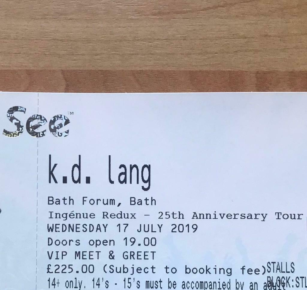 VIP MEET & GREET TICKET - kd lang | in Crediton, Devon | Gumtree