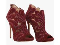 Jimmy choo maroon peep toe heels size 7