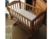 Wooden Cradle in good condition with mattress