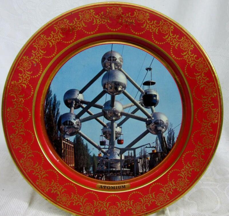 "BRUSSELS, Belgium Souvenir TIN PLATE: ATOMIUM   8""  Nice Graphics"