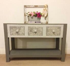 Solid oak console upcycled grey