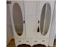Cream Painted Edwardian Triple Wardrobe with Oval Mirror Doors