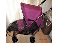 MAMAS AND PAPAS SWIRL ,PRAM /BUGGY ,IN PINK WITH FOOT MUFF AND RAINCOVER . GOOD CLEAN CONDITION