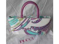 Pucci Handbag, Authentic Designer, Fab Abstract Multicolour Canvas & Leather, Excellent Condition