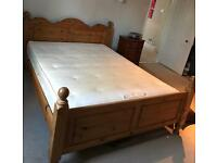 King size solid pine bed with Sealy mattress