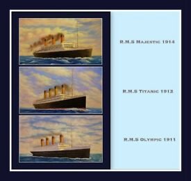 TITANIC - OLYMPIC - MAJESTIC 3 X BEAUTIFUL OIL PAINTINGS ON CANVAS (31ins X 19ins)
