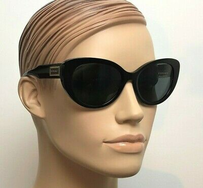VERSACE Women Cat Eye Sunglasses SHINY BLACK GOLD GREY VE 4378 GB1/87
