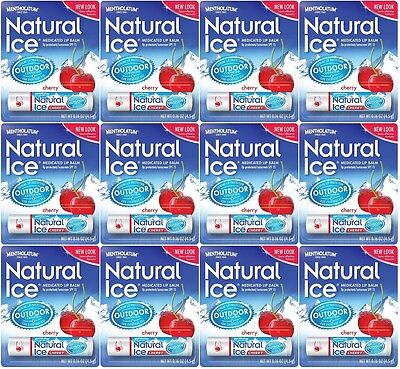 Mentholatum Natural Ice Medicated Lip Protectant SPF 15 CHERRY balm (PACK OF 12)