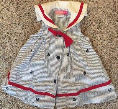 Goodlad Girls 6-9 Month Sailor Dress Seersucker Blue White Red Nautical 4th July