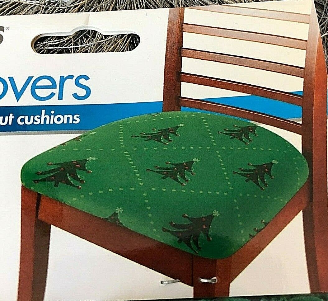 Christmas Stretch Seat Covers SET OF 2 Cover Protector (Spills Stain Torn) TREES Furniture