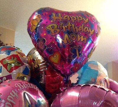 HAPPY BIRTHDAY Mom heart shaped w/ butterflies flowers mylar BALLOON Lot 5 piece ()