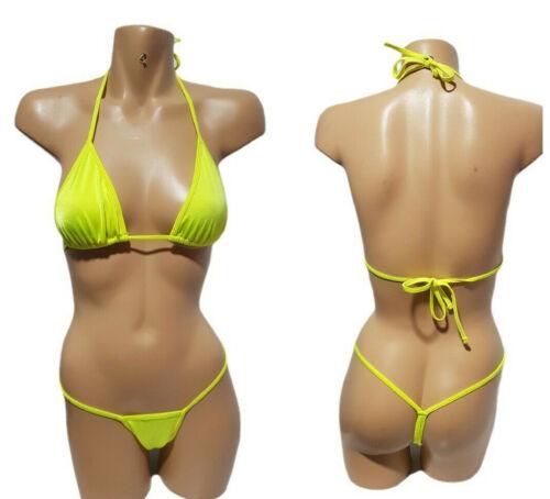 Sexy 2pc Micro Tback Thong Gstring Bikini Stripper Exotic Dancer - Neon Yellow