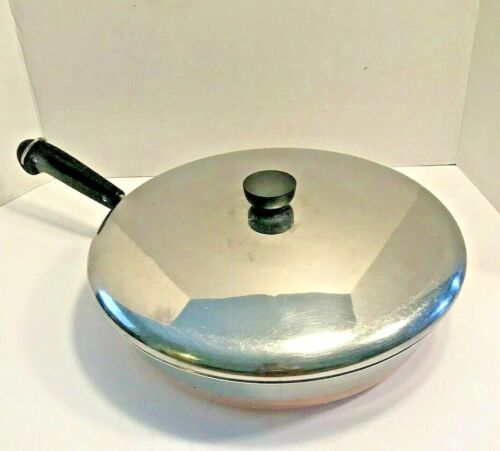 "Vintage 1801 Revere Ware 12"" Copper Bottom Skillet Frying Pan w/ LID  U.S.A Made"