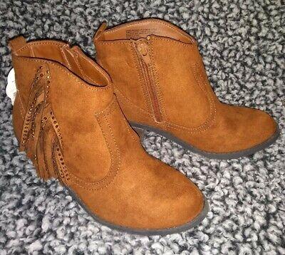 Wonder Nation Girls cowboy Boots with sparkle tassels Size 2 brown NEW