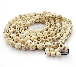 13mm*10mm White Turquoise Skull Tibet Buddhist 108 Prayer Beads Mala Necklace