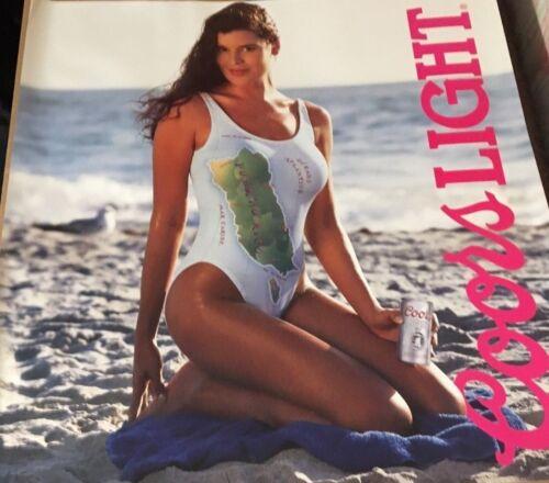 Coors Light Beer Vintage Bikini Bathing Suit Puerto Rico Woman Sexy Beach Poster