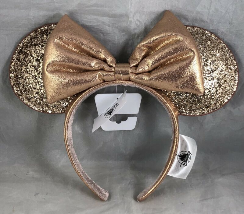 Disney Parks Briar Rose Gold 2020 Redesigned Minnie Mouse Ears Headband Bow Hat