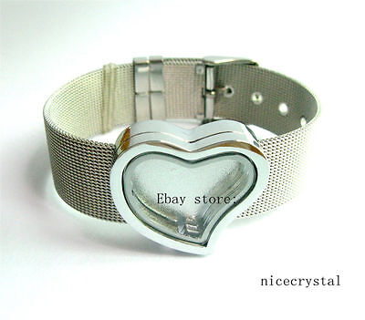 5pcs Plain heart Slide Floating Glass Locket with 18mm stainless steel wristband