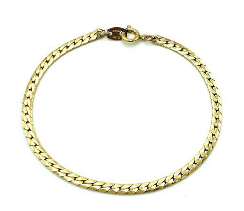 """Vintage 14KT Gold Filled Signed Sweet Herringbone Chain Bracelet 14KT GF 7.75"""""""