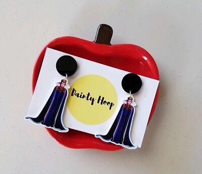 The evil queen disney snow white shrink plastic dangle stud earrings black pad