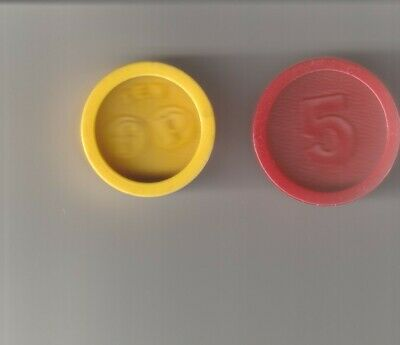 Vintage 1974 Authentic Fisher Price Cash Register Coins, 5 coins, #926