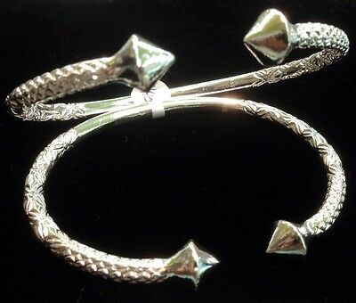 Pair Of Pointy Head West Indian Sterling Silver Bangles - Big Size - Men & Women