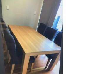 Brown Wooden Dining Table including 6 Chairs (Used)