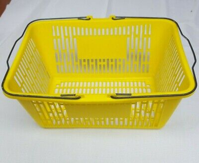 Yellow Shopping Basket Plastic With Strong Metal Handles