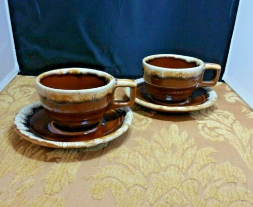 VTG USA MONMOUTH MAPLE LEAF BROWN DRIP CUP AND SAUCER set of 2