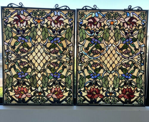 "Pair Stained Glass Tiffany style Window Panels w/ Cabochons 18"" x 25"" Handmade"
