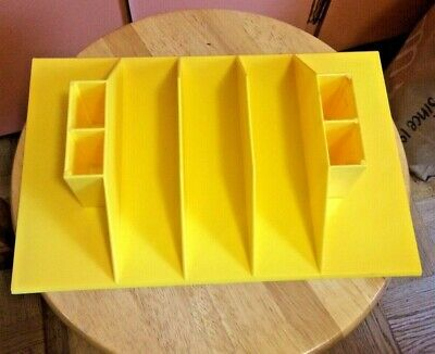 Vintage 1970s Heavy Plastic Yellow Desk Table Letter Office Pen Organizer