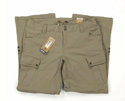 Prana Womens Sage Convertible Pant Cargo Shorts Short Inseam Khaki Size 12 NWT Prana-womens Convertible Pant
