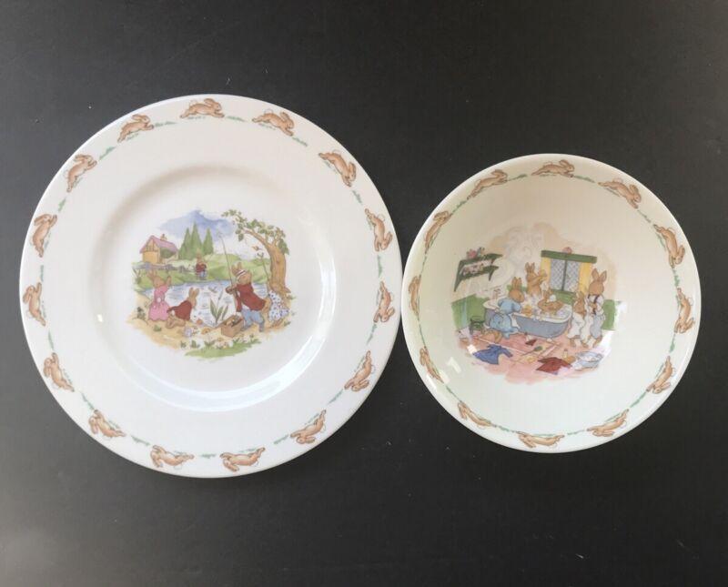 Royal Doulton Bunnykins Anthropomorphic Bunny Rabbit Nursery Plate And Bowl