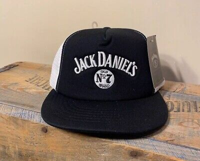 Vintage Jack Daniels #7 embroidered trucker snapback hat NWT black white mesh
