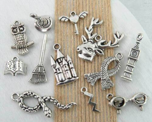 12 HARRY POTTER Charms, Antique Silver Mixed Wizard Charm Collection Set Lot