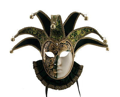 Mask Venice Volto Jolly IN Bavaria Green And Golden 7 Spikes Musica 1585 VG28