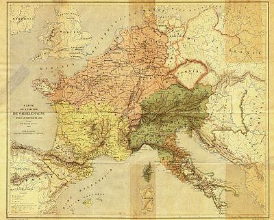 Antique Map-EMPEROR-CHARLEMAGNE-CAROLINGIANS-EMPIRE-Vetault-1877