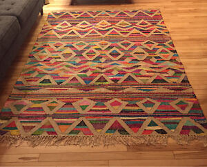 7x5 flat woven colourful rug