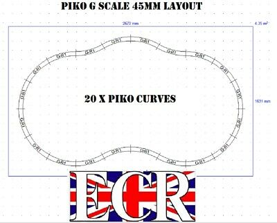 PIKO G SCALE 45mm GAUGE PIKO RAILWAY TRAIN 20 CURVES TRACK LAYOUT AS SHOWN for sale  Shipping to Ireland