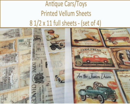 Scrapbooking Vellum Paper - Printed Vellum Sheets - Antique Toys/Cars