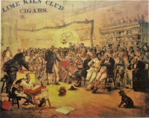 AUTHENTIC 1882 circa LIME KILN CLUB LITHOGRAPH