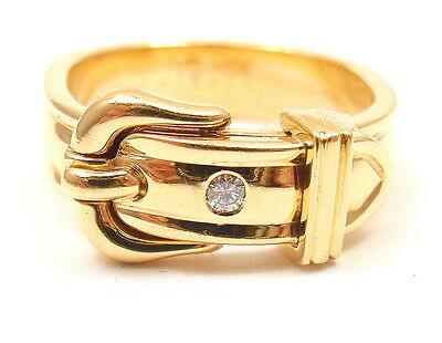 Authentic! Hermes 18k Yellow Gold Diamond Belt Buckle Band Ring Size 51 US 5.5