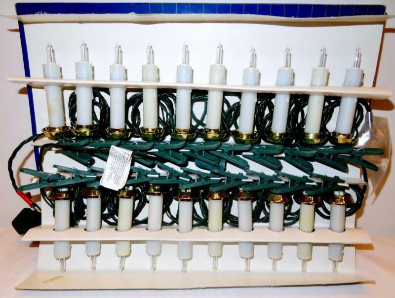 Vintage 1995 GKI 20 Drip Candles Set Christmas Tree Lights, Clips NEW Old Stock