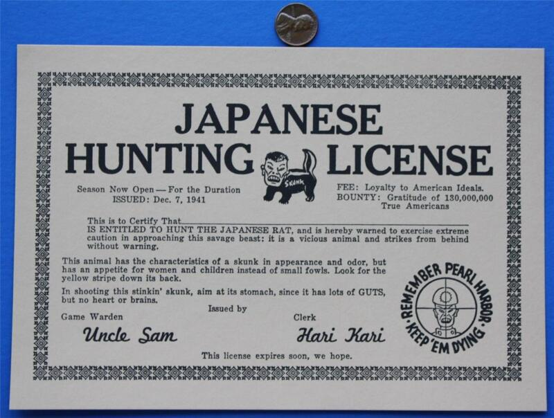 1940s WWII Remember Pearl Harbor Anti-Axis Hunting License certificate-NON-PC!