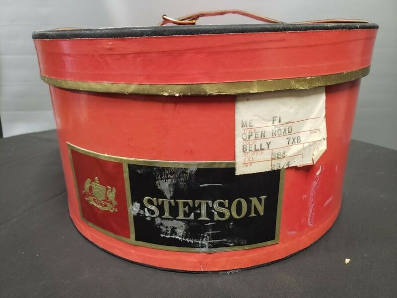 VINTAGE STETSON HEAVY DUTY OVAL RED HAT BOX 15