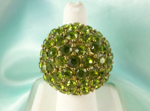 Large Chunky Olive Green Rhinestone Cocktail Ring Stretchy SUPER SPARKLES!