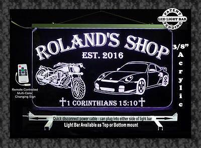 Personalized Motorcycle  Race Car Led Sign  Man Cave  Garage Sign  Gift For Dad