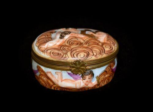 WOW Antique FRENCH Hand Painted *CAPODIMONTE* Porcelain *7 CHERUBS* Trinket BOX