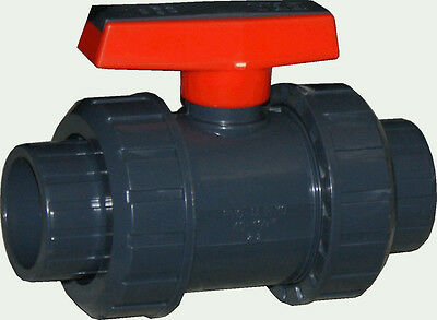 New Sch 80 Pvc 2 Inch True Union Ball Valve Grey Socket Connect New Sch 80 Pvc