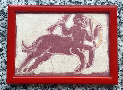 Erotika Bild Batik Afrika Holzrahmen 19,5x14 cm,Zentaurus als Amor Handarbeit